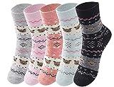 Cindeyar 5 Paar Mädchen Socken Lässige Damen Socken atmungsaktive Baumwolle Winter Socken , Verschiedene Farben und Motive (39-42, Stil 10)