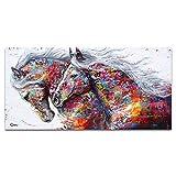 GSOLOYL Décoratif Photo Coloré Chevaux Toile Affiche Animale Mur Art Nordique Imprimer Peinture Abstraite Moderne Salon Décoration Painting (Taille (Pouce) : 60x120cm)
