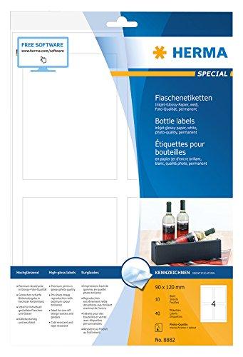 Herma 8882 Flaschenetiketten Tintenstrahldrucker, Fotoqualität, 40 St. (90 x 120mm, A4 Papier...