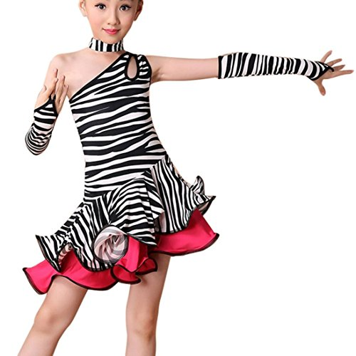 FNKDOR Mädchen Tanzkleid Latein Kleid Ballsaal Tanz Kostüme Lateinkleid (Höhe 130 cm, Gestreift) (Ballsaal Kostüm Mädchen)