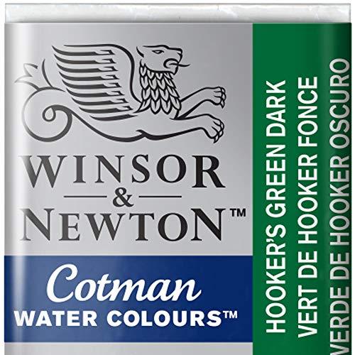 Winsor & Newton 0301312 Cotman Aqarellfarbe - 1/2 Napf, gute Transparenz, hervorragender Tönungsstärke und gute Maleigenschaften, Hookers Grün dunkel