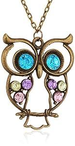 Long collier vintage avec pendentif rétro hibou aux yeux bleus, bijoux femmes