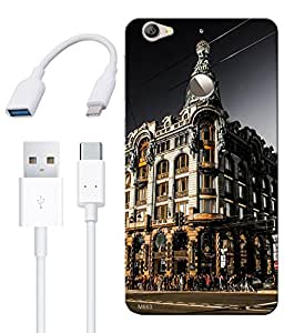 Combo of Beautifull Architecture HD UV Printed Mobile Back Cover, Charging Cable and OTG Cable For Letv Le 1S