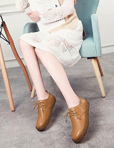 HWF Scarpe donna Spring Single Shoes Female Casual Shoes Scarpe da donna stile college in pelle piatta college ( Colore : Nero , dimensioni : 38 ) Marrone