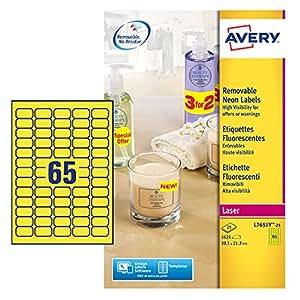 Avery 1625 Etiquettes Autocollantes Amovibles (65 par Feuille) - 38,1x21,2mm - Impression Laser -  Jaune Fluo (L7651Y)