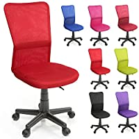 TRESKO Office Chair Swivel Desk, 7 colours available, with nylon casters, continuously height-adjustable, upholstered seat, ergonomically designed, Gas lift SGS tested (Red)