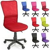 TRESKO Silla de oficina escritorio giratoria, disponible en 7 variantes de colores, con ruedas para suelos duros, regulable en altura de forma continua, asiento acolchado, respaldo ergonómico, pistón de gas certificado por SGS (Rojo)