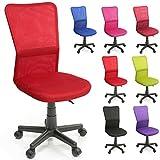 TRESKO Bürostuhl Schreibtischstuhl Drehstuhl, erhätlich in 7 Farbvarianten, mit Kunststoff-Leichtlaufrollen, stufenlos höhenverstellbar, gepolsterte Sitzfläche, ergonomische Passform, Lift SGS-geprüft (Rot)