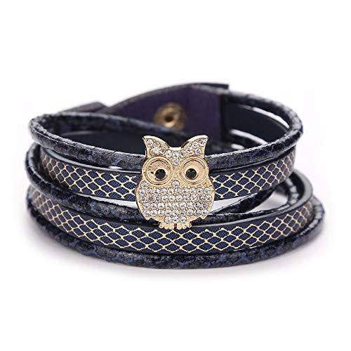 TDFGCR Mode Frauen mehrschichtiges handgemachtes Armband Leder Armband Armreif-Mehrfarben B