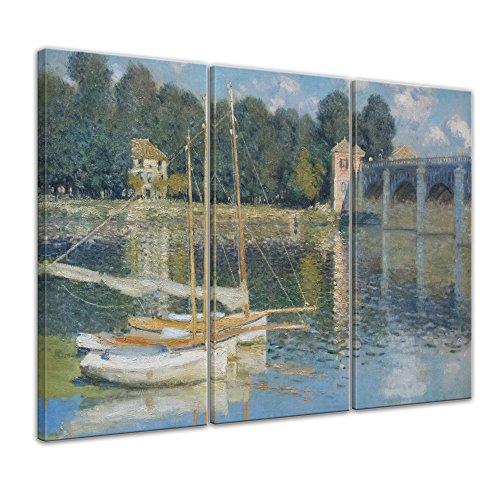 Bilderdepot24 Kunstdruck - Alte Meister - Claude Monet - Brücke von Argenteuil - 90x60cm dreiteilig - Leinwandbilder - Bilder als Leinwanddruck - Bild auf Leinwand - Wandbild (Impressionistischen Aquarell)