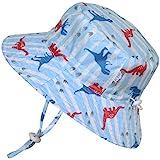 Baby 50+ UPF Bucket Sun Hat With Chin Strap, Size Adjustable Aqua Dry (S: 0-6m, Dino)