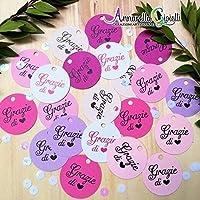 50 pezzi CARTELLINI STAMPATI per bomboniera, grazie, etichette, nascita, battesimo, bimba, cresima, comunione, tag, bigliettino, bomboniere, compleanno, confettata, grazie di cuore, color mix rosa