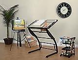 Studio Designs Triflex Zeichentisch, Metall, anthrazit schwarz/transparent Glas, 104x 74x 79cm
