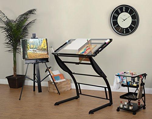 Studio Designs Triflex Table de Dessin, en MÉTAL, Charbon de Bois Noir/Verre Clair, 104 x 74 x 79 cm