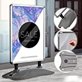 Kundenstopper DIN A1 Mobil | Alu Rahmen und 2 Folien Doppelseitig, mit Wasser befüllbar, in Grau | Wetterfester Plakatständer, Gehwegaufsteller, Standfuß Tafel