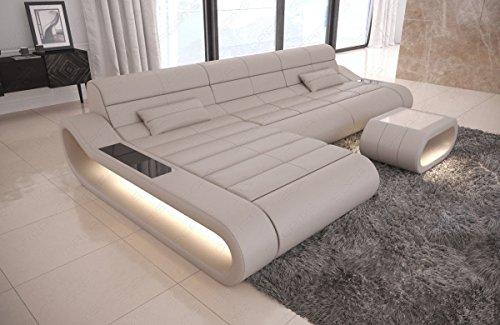 Sofa Dreams Ledersofa Concept L Form lang beige