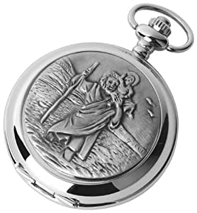 Pocket Watch - Quartz Movement - St. Christopher's - with chain, presentation case & warranty