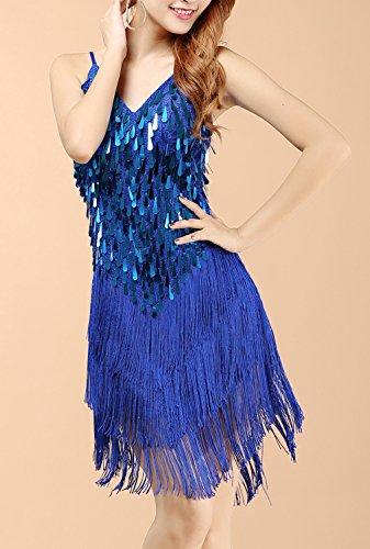 URqueen Women 1920s Gastby Sequined Embellished Fringed Dress Blue