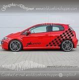 2 ADESIVI SCACCHIERA LATERALE FIAT GRANDE PUNTO DECAL GRAFICHE AUTO TUNING (BIANCO)
