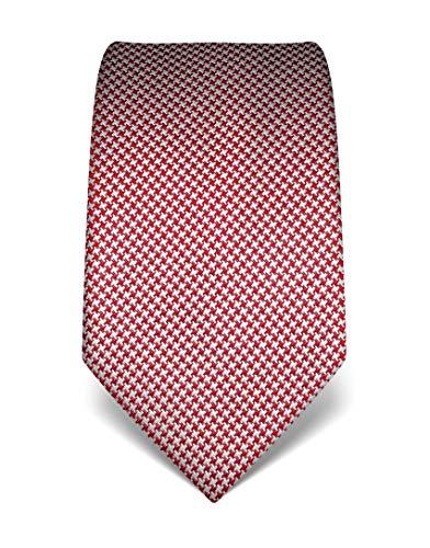 Vincenzo Boretti Herren Krawatte reine Seide Hahnentritt Muster edel Männer-Design zum Hemd mit Anzug für Business Hochzeit 8 cm schmal/breit weiß/weinrot -
