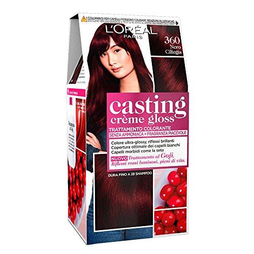 L'Oréal Paris Colorazione Capelli Casting Crème Gloss, Tinta Colore Trattamento senza Ammoniaca per una Fragranza Piacevole, 360 Nero Ciliegia