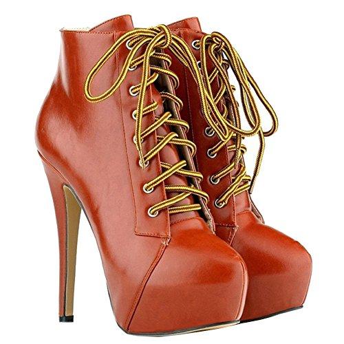 MERUMOTE Damen Y-027 Lace-up Runde Zehe Versteckte Plattform High Heels Schuhe Fashion Ankle Boots Stiefeletten EU 35-46 Orange-Mattem