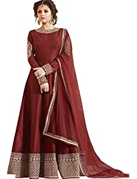 Bigben Maroon Banglory Silk Embroidery Designer Anarkali Suits