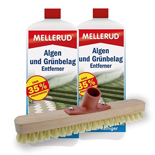 Mellerud 2er Pack Algen und Grünbelag Entferner (2 x 2 Liter) inkl. Schrubber
