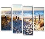 islandburner Bild Bilder auf Leinwand Weg Zum Meer Dünen 4er XXL Poster Leinwandbild Wandbild Dekoartikel Wohnzimmer Marke