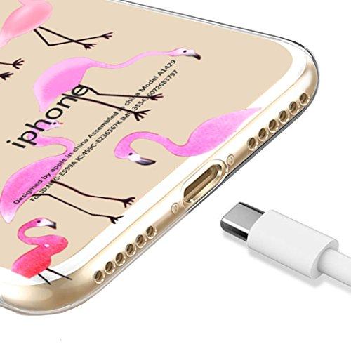 Custodia iPhone 7 [Pellicola Protettiva in Vetro Temperato], Yoowei® Design Colorato Cristallo Trasparente Ultra Sottile Morbido TPU Gel Case Cover per iPhone 7 4.7 (Fenicotteri) Fenicotteri