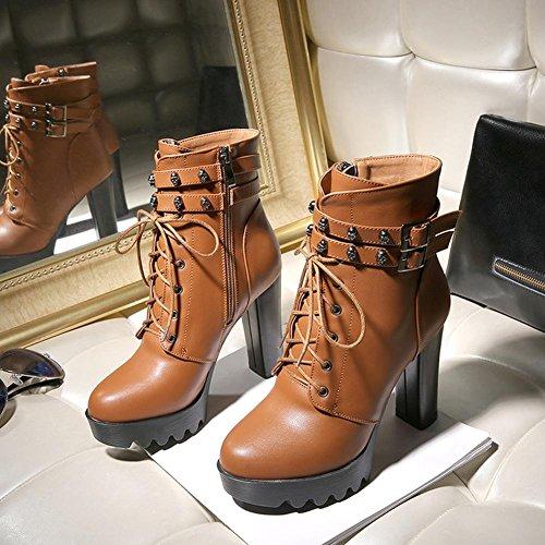 L@YC Scarpe da Donna Similpelle Autunno Inverno Stivali Chunky Heel Punta Tonda Fibbia a Metà Polpaccio per Abbigliamento Casual Brown