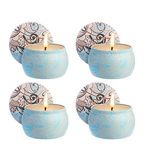 Kerzen Duftkerzen, 4 Stück Mückenschutz Kerzen Weiß 4,8 Oz jedes Zitronengras, 100% natürliche Sojawachs Gegen Insekten Duftkerzen für Geburtstagsbad Yoga Weihnachten Valentinstag ()