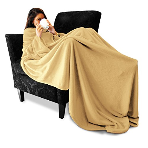 MikaMax Snug Rug - Fleece - Decke mit Ärmeln - Weiche und Warme Decke - Reisedecke - Original - Kuscheldecke - Beige (Ärmeln Decke)