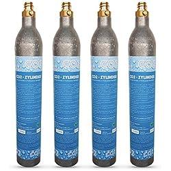 Lot de 4 cartouches de CO2 compatibles avec les machines à soda et eau gazeuse Crystal Sodastream, Cool, etc. Max. 60 litres d'eau gazeuse par cartouche Cartouches remplies de CO2.