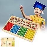 Habba-Babba Montessori Mathe Spielzeug aus Holz zum Zahlen lernen mit Rechen-Stäbchen, Bunt / Natur ab 3 Jahre für die frühe Motorik Entwicklung & Ausbildung ihres Kindes hergestellt von Habba-Babba