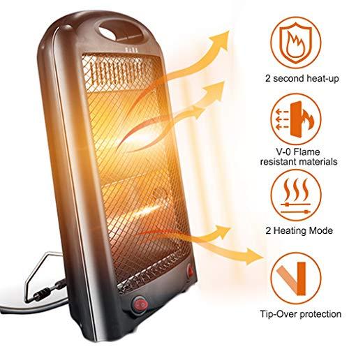 LTLJX Halogen Heizung Quarz-Heizstrahler Elektrisch Klein 2 Heizstufen mit Überhitzungsschutz für Haus und Büro Badezimmer