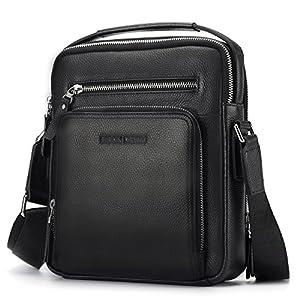 BISON DENIM Herren Leder Schultertasche Reisetasche Kleine Umhängetasche Handtaschen