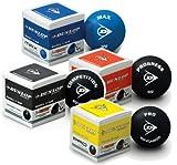 Купить DUNLOP Squashbälle 3er 6er 12er Packung Gelb 1 oder 2 Punkte Rot und Blau!!