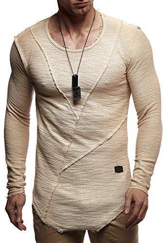 LEIF NELSON Herren Pullover Hoodie Sweatjacke Longsleeve Sweatshirt Jacke Basic Rundhals Langarm oversize Shirt Hoody Sweater LN6323 Beige