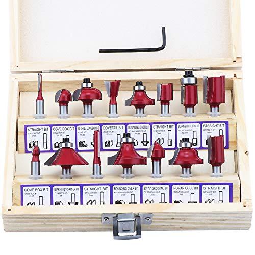 Fippy 15 Stück 1/4 Shank Fräser Set Holzschneider Hartmetall-Router Bit für die Holzbearbeitung mit Holzkiste