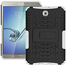 DWay Tab S2 8.0 Cover T710 Hybrid Armor Design with Stand Feature Detachable Dual Layer Protective Shell Tablet Hard Back Cover Custodias per Samsung Galaxy Tab S2 8.0inches SM-T710 / T715 (White)