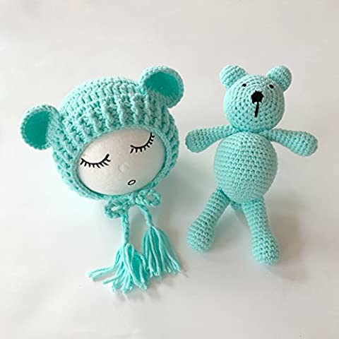 Neugeborene Baby Fotografie Requisiten Boy Girl Crochet Kostüm Outfits Hat Bär Set … (Green) (Bären-kostüm Für Baby)
