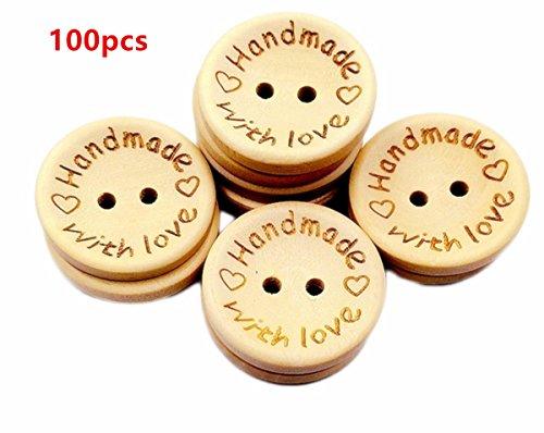 WeiMay 100 piezas madera color botones amor madera