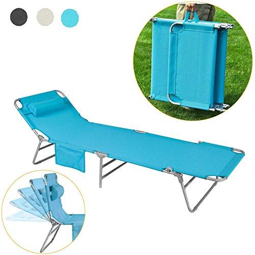 SoBuy® OGS35-B Gartenliege Sonnenliege Relaxliege mit Seitentasche Liegestuhl klappbar Strandliege