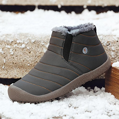 Schuhchan Schneestiefel Warm Gefütterte Winterschuhe Stiefelette Outdoor Winterstiefel Boots für Damen Herren Grau-04
