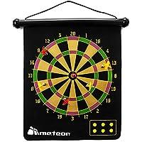Dartboard magnético Enrollable con 6 Dardos magnéticos de Doble Cara para niños y adultos Juego de Dardos Reversible fácil de almacenar Caja de Regalo Segura 50 x 34 x 46,5 cm (Negro)