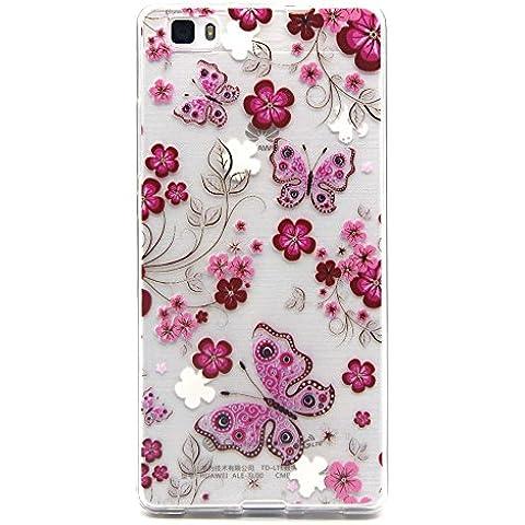 Voguecase® Per Huawei P8 Lite Custodia fit ultra sottile Silicone Morbido Flessibile TPU Custodia Case Cover Protettivo Skin Caso (Rose farfalla fiore) Con Stilo Penna - Fiori E Farfalle