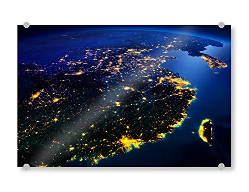 artboxONE Acrylglasbild 120x80 cm Städte China-Nachtansicht vom Raum Bild hinter Acrylglas - Bild Foto Raumfahrt NASA