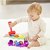 #4: Baybee Super Durable Roll Toy Hammer Balls Plan Toy Punch for kids with Sliding Ramp | Learning Toy for Toddlers - Includes Hammer + 4 Balls