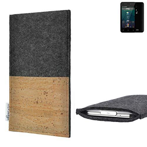 flat.design Handytasche Evora mit Korkfach für Allview P42 - Schutz Case Etui Filz Made in Germany in hellgrau mit Korkstoff - passgenaue Handy Hülle für Allview P42